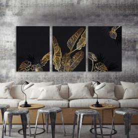 Set 3 tablouri - Exotica auriu