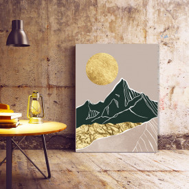Set tablouri canvas - Golden foil abstract mountains