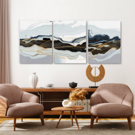 Set tablouri canvas - Marble and golden waves