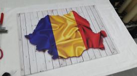 Tablou Canvas Romania steag si contur