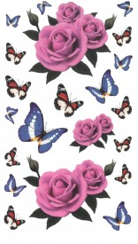 Tatuaj temporar -trandafir roz- 10x17cm