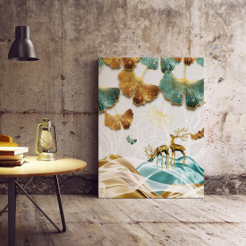 Set tablouri canvas - Deer and ginkgo leaves