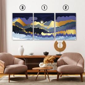Set tablouri canvas - Magical sunrise over golden mountains