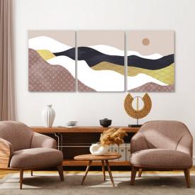 Set tablouri canvas - Moon above the abstract desert