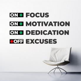 Sticker Focus motivation dedication excuses