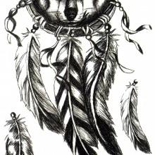 Tatuaj temporar Lup-DreamCatcher-Wolf-pene 15x10cm