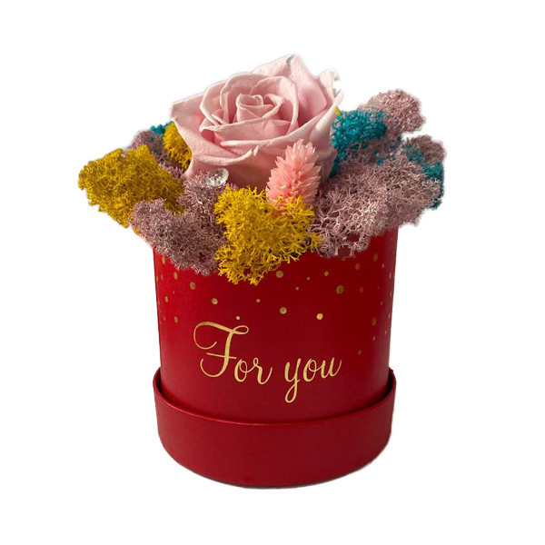 Aranjament Floral, cutie rosie cu trandafir criogenat pe pat de licheni multicolor
