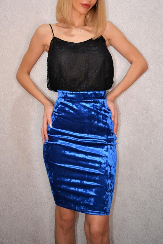 Fusta conica din catifea Milly albastra