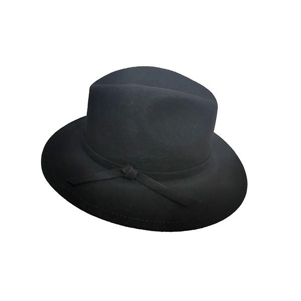 Palarie Cowboy, din lana si bentita cu funda, neagra