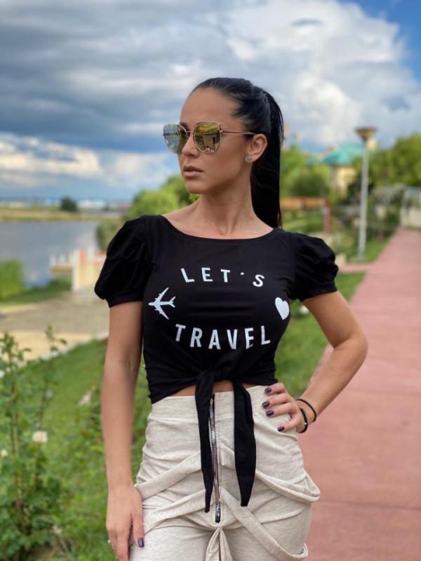 Tricou dama scurt din bumbac negru Let's Travel