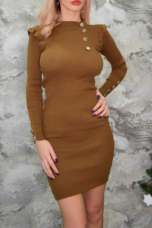 Rochie din tricot Alice, maro