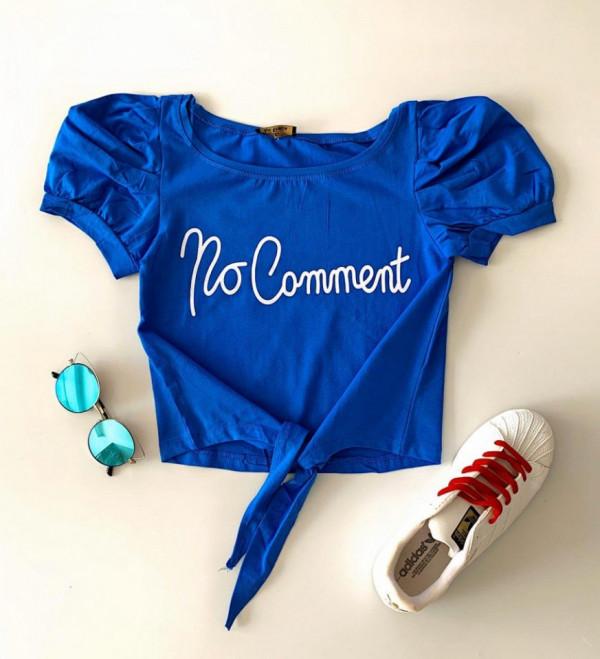 Tricou dama albastru din bumbac No comet