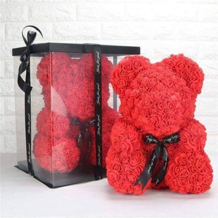Ursulet Floral din Trandafiri de spuma 30 cm, ambalat in cutie- cadoul perfect