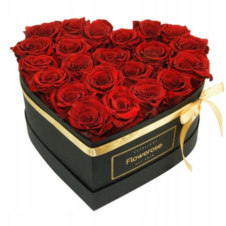 Aranjament floral cutie inima cu trandafiri sapun rosu inchis