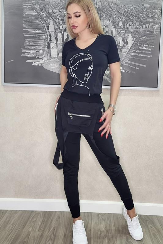 Compleu Black Diamond, pantaloni si tricou negru