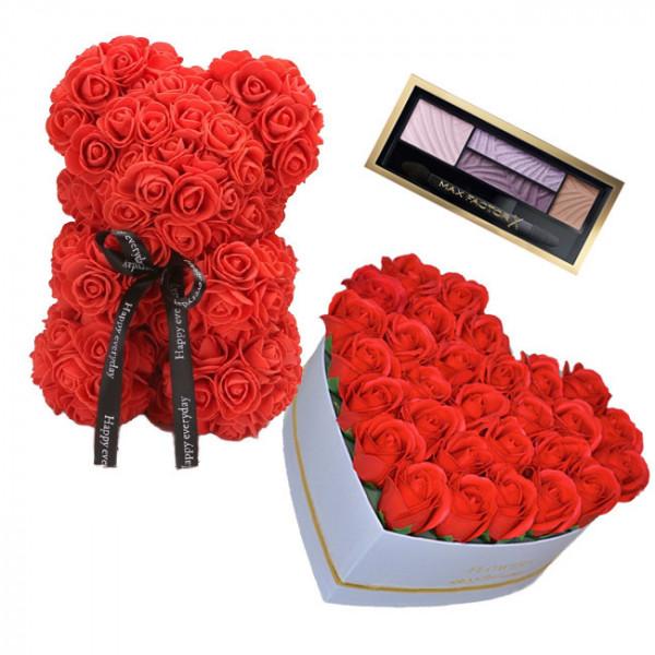 Set Cadou Aranjament floral cutie inima alba cu trandafiri rosii de sapun, Ursulet floral Rosu 25cm si Paleta fard