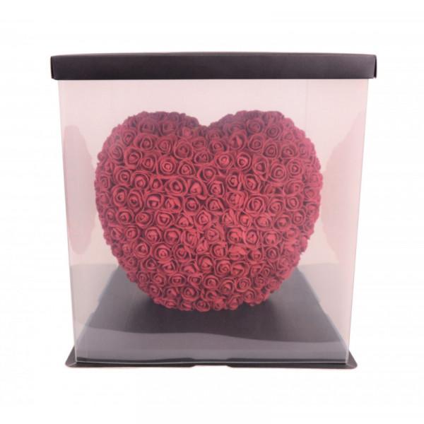 Aranjament Inima din trandafiri de spuma, diverse culori, decorat manual, 35 cm