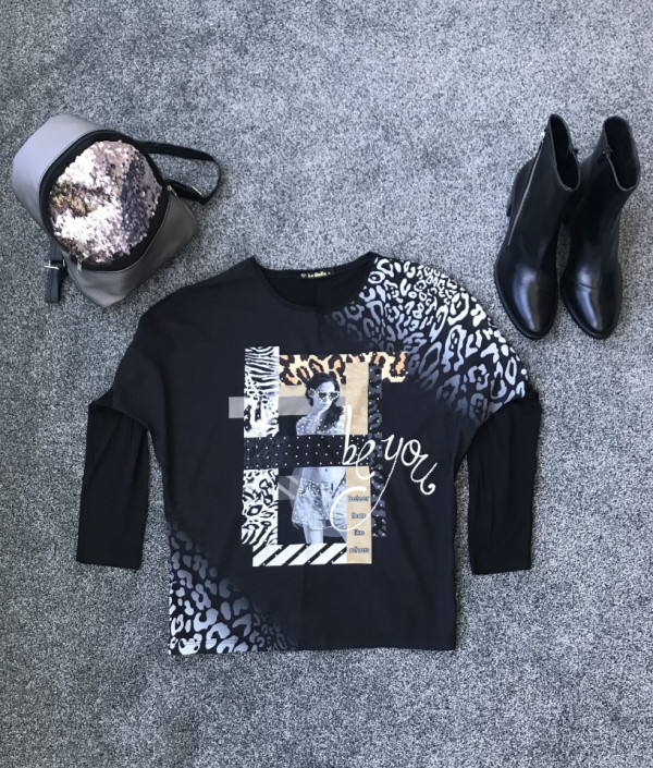 Bluza dama Girl Design neagra cu print multicolor