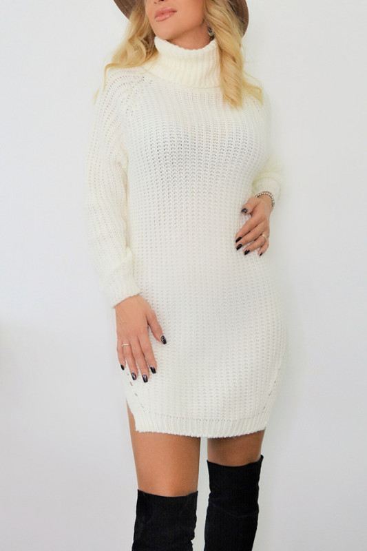 Pulover lung tricotat Desire, alb