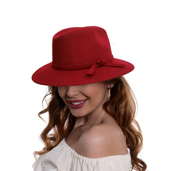 Palarie Cowboy, din lana si bentita cu funda, rosie