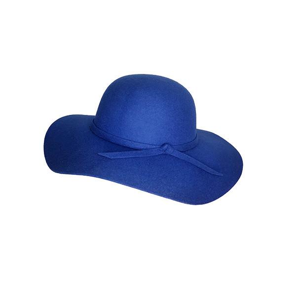 Palarie dama Vintage, cu bor lat si fundita, albastra