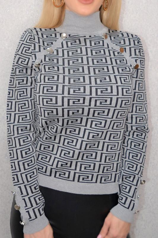 Pulover cu imprimeu modern, gri