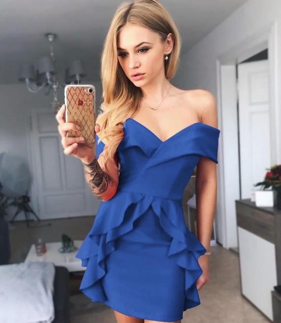 Rochie de petrecere cu volanase Nadya albastra