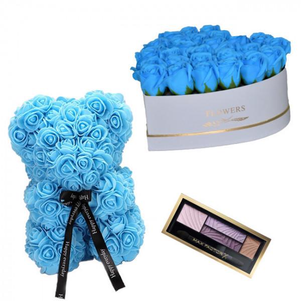 Set Cadou Aranjament floral cutie inima alba cu trandafiri albastrii de sapun, Ursulet floral Albastru 25cm si Paleta fard
