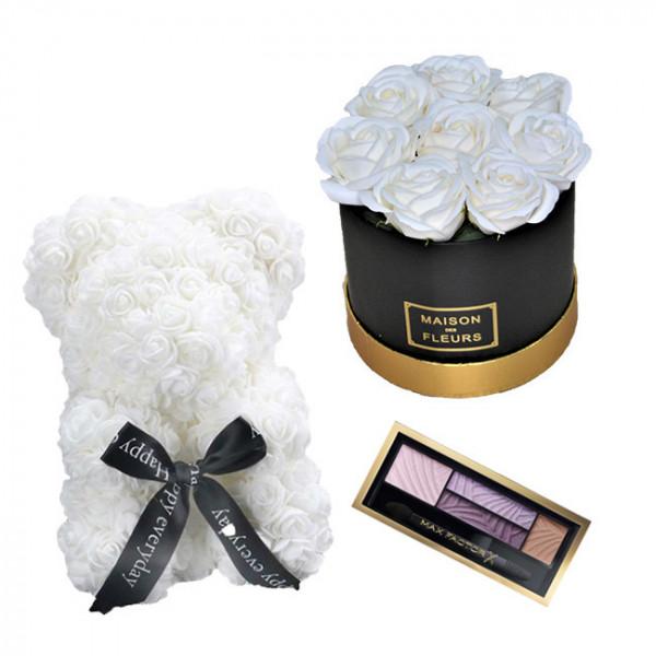 Set Cadou Aranjament floral cutie rotunda neagra cu trandafiri albi de sapun, Ursulet floral Alb 25cm si Paleta fard