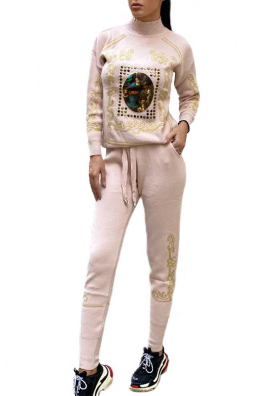 Trening tricotat cu model deosebit Saint Louis, crem