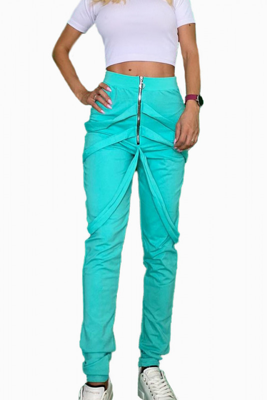 Pantaloni dama turquoise cu fermoar si bretele