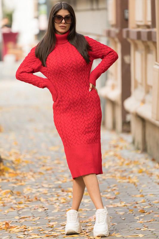 Rochie tricotata Diane, rosie, cu guler si maneci lungi