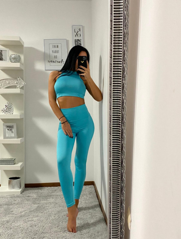 Compleu Fitness Vanesa din doua piese turquoise