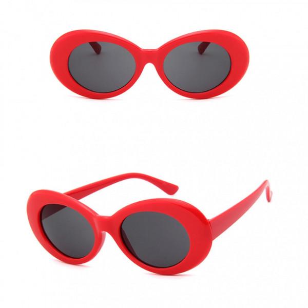 Ochelari de soare Retro Red Oval cu rame groase