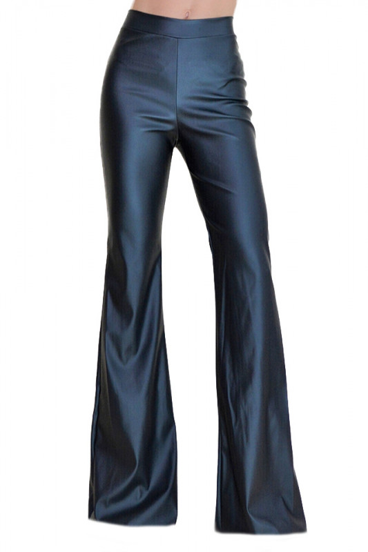 Pantaloni talie inalta evazati din piele eco, negri