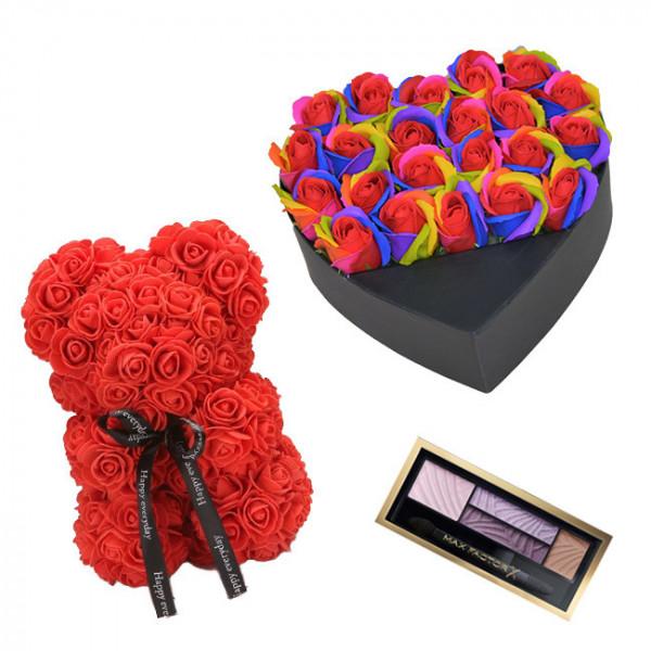 Set Cadou Aranjament floral cutie inima neagra cu trandafiri multicolor de sapun, Ursulet floral Rosu 25cm si Paleta fard