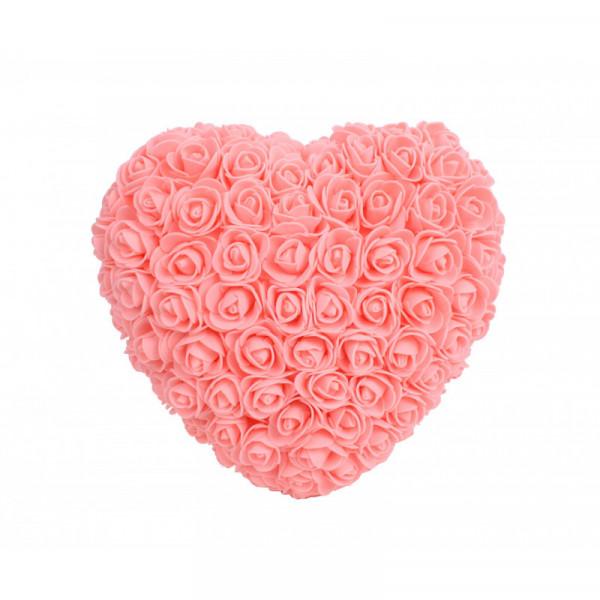 Aranjament Inima din trandafiri de spuma, diverse culori, decorat manual, 25 cm
