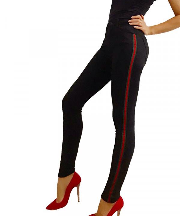 Blugi dama negri accesorizati lateral cu banda rosu-kaki si talie inalta