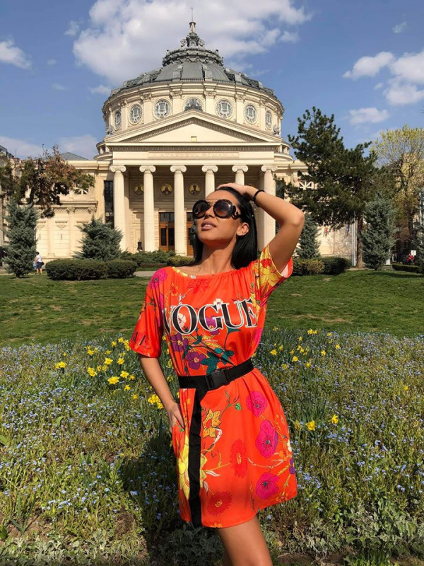 Rochie casuala de zi Vogue portocaliu cu imprimeu floral
