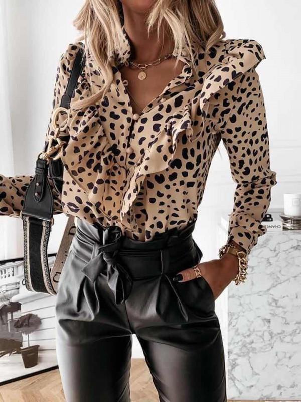 Camasa dama Pretty One cu volane ivoire cu negru