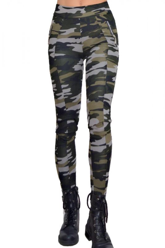 Colanti Army, negru/gri, croiala skinny, imprimeu de camuflaj