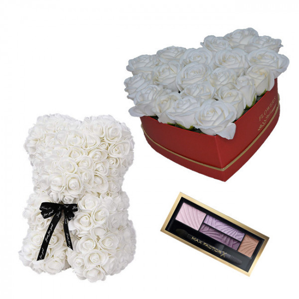 Set Cadou Aranjament floral cutie inima alba cu trandafiri albi de sapun, Ursulet floral Alb 25cm si Paleta fard