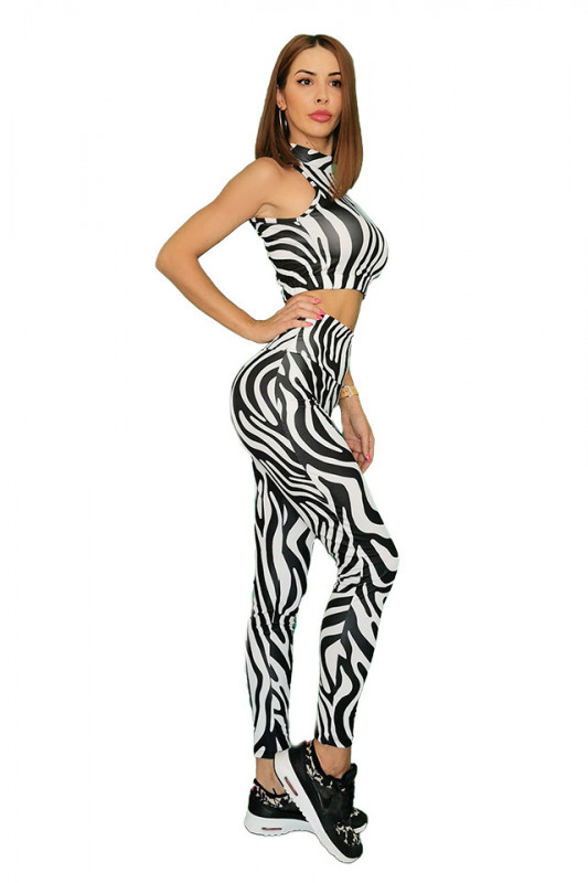 Compleu Fitness Vanesa din doua piese zebra