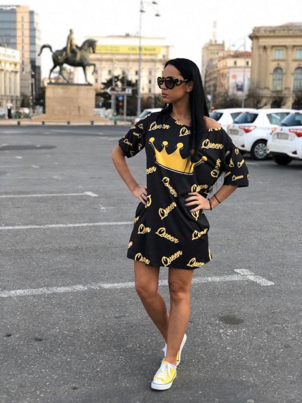 Rochie casuala de zi Qween neagra cu imprimeu trendy