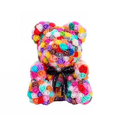 Ursulet Floral Multicolor Trandafiri de spuma, in cutie cadou cu funda