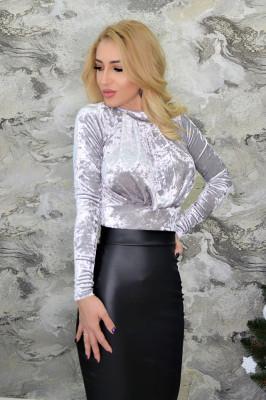 Body elegant din catifea, argintiu