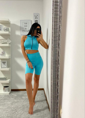Compleu Fitness Tanya din doua piese turquoise