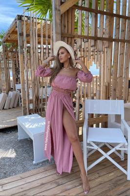 Compleu Naila fusta si top scurt roz