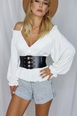 Curea lata tip corset Shyla negru cu aplicatii metalice aurii