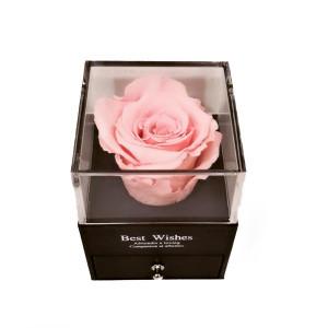 Cutie tip sertar cu trandafir criogenat, diverse culori si punga de cadou
